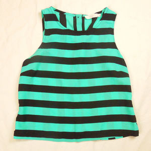 Lush Turquoise Striped Button-up Back Tank Top